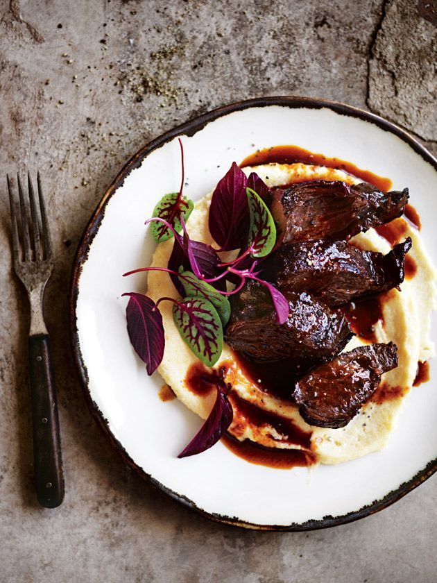 braised beef cheeks with creamy polenta from donna hay magazine #87 winter
