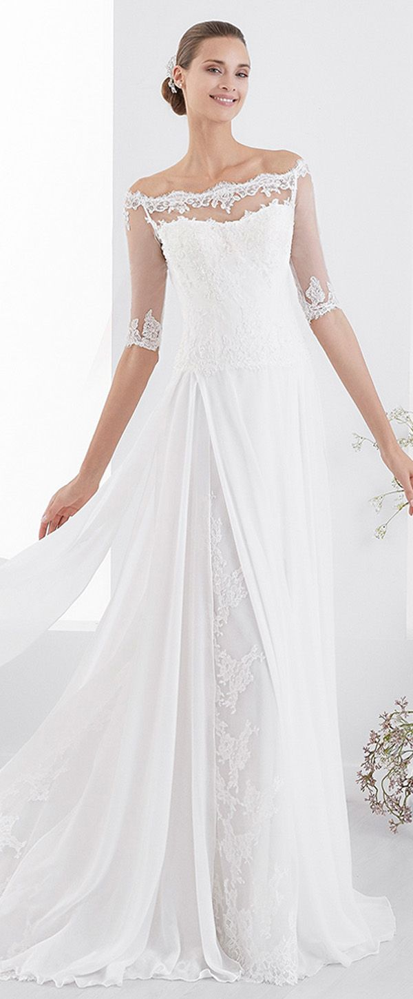 Amazing Lace Chiffon Off The Shoulder Neckline A Line Wedding Dress With