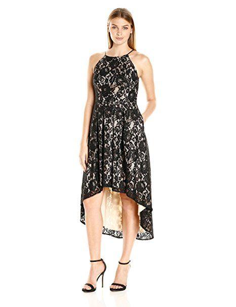997abe0088044 Amazon.com  Aidan by Aidan Mattox Women s Lace Halter Cocktail Dress with  Hi-Low Hem Line  Clothing
