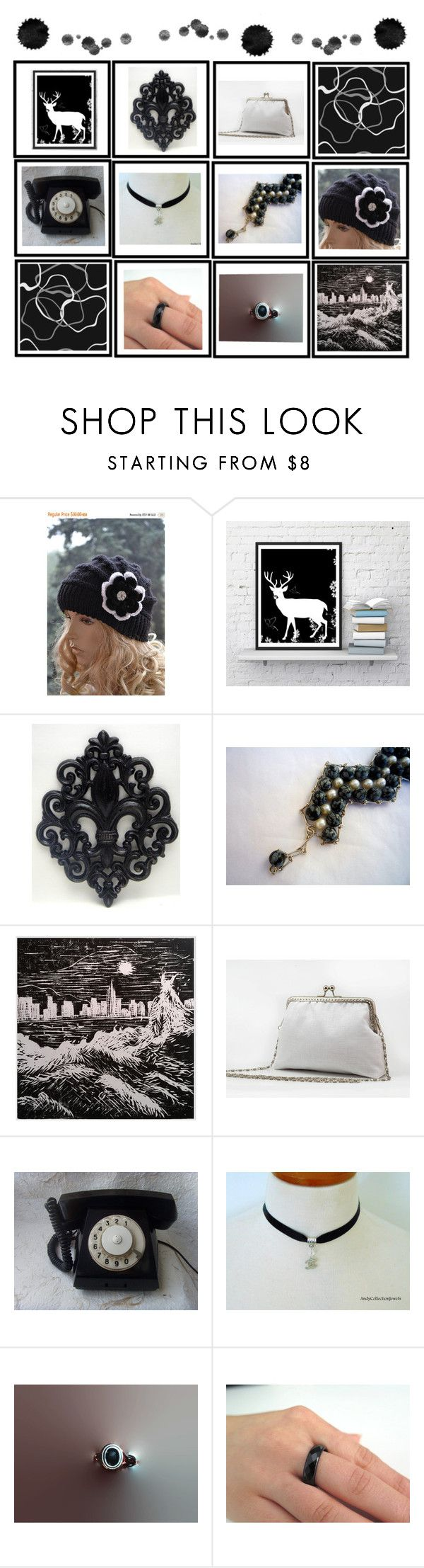 Black & White Treasures of Etsy by tamarastreasuretrove on Polyvore featuring interior, interiors, interior design, home, home decor, interior decorating, etsy, jewelry, homedecor and homedesign