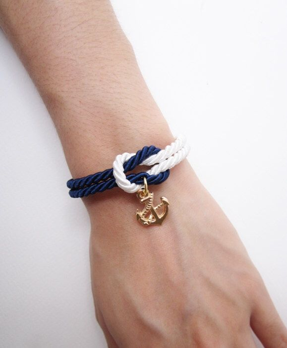 nautical bracelet, anchor bracelet, sailor bracelet in navy, rope bracelet, wedding gift, beach wedding favors, knot bracelet by MustMuseMost on Etsy https://www.etsy.com/listing/199427064/nautical-bracelet-anchor-bracelet-sailor
