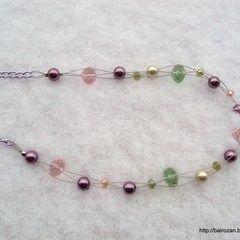 Pink & Green perly a krystaly Náhrdelníky