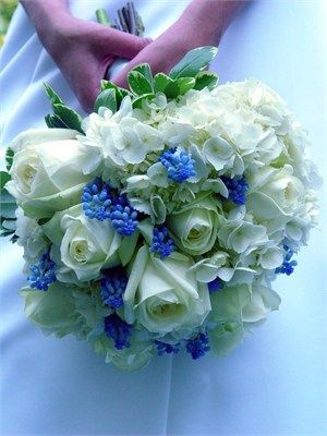 White and blue bouquet perfect for spring and summer weddings. Used to pick these at my aunt's house...