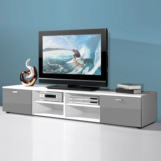 Contemporary Wide LCD TV Stand In White With 2 Grey Gloss Doors