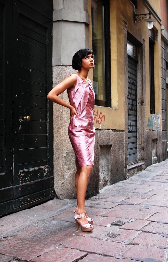 FRAGOLINE DI BOSCO  Elegant Silk Origami by MaisonMatthanGori, $445.00: Origami Inspiration, Silk Origami, Silk Dresses, Pink Dresses, Elegant Silk, Pink Silk, Italy Dresses, Inspiration Pink, Pink Parisians