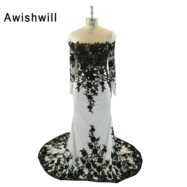 Fashion Black and White Mermaid Evening Dresses Long Sleeve Lace Chiffon Dubai Dress Long Party Dress Special Occasion #Affiliate