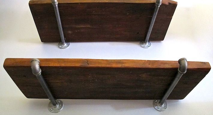 Reclaimed Wood And Metal Wall Shelves: Assembled Reclaimed Wood With Pipe Hardware Shelving