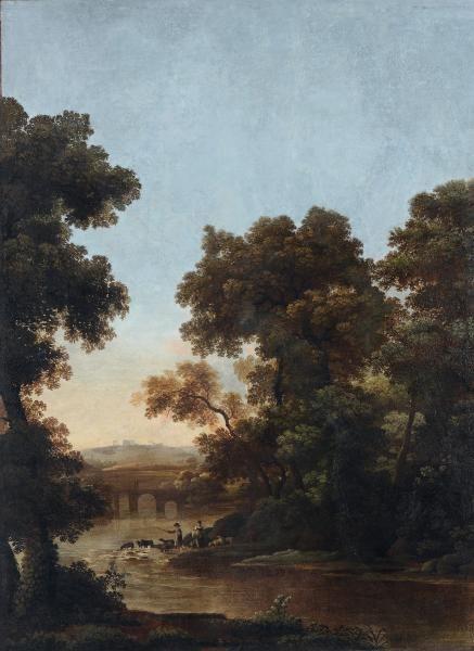 Scuola Romana del XVIII secolo, Paesaggio con figure ed architetture - grande dipinto [...], Antiques (Genova) à Cambi Casa d'Aste   Auction.fr