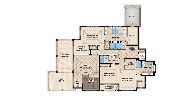 5 Bed House Plan with Great Outdoor Entertaining Spaces - 66375WE   1st Floor Master Suite, 2nd Floor Laundry, Butler Walk-in Pantry, CAD Available, Corner Lot, Den-Office-Library-Study, Elevator, Florida, Loft, Luxury, MBR Sitting Area, Mediterranean, PDF   Architectural Designs