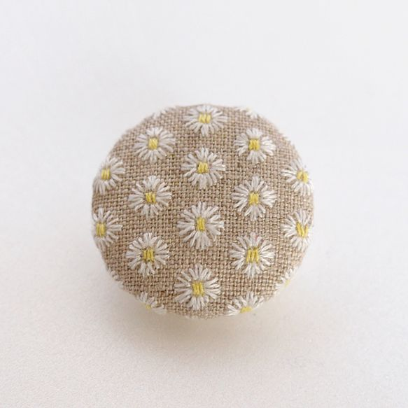 embroidery linen brooch