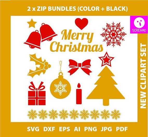 MERRY CHRISTMAS SVG set clipart cut files Christmas vector