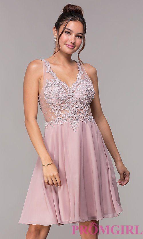 64afa709782 V-Neck Embellished-Bodice Short Homecoming Dress in 2019