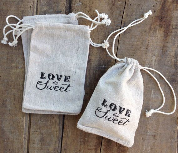 'Love is Sweet' Drawstring Linen Favour Bag