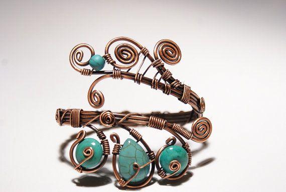 turquoise bracelet wire wrapped jewelry handmade by BeyhanAkman, $40.00