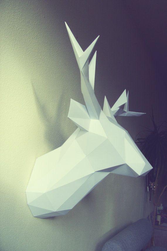Mounted Deer head papercraft by DearestBambi on Etsy