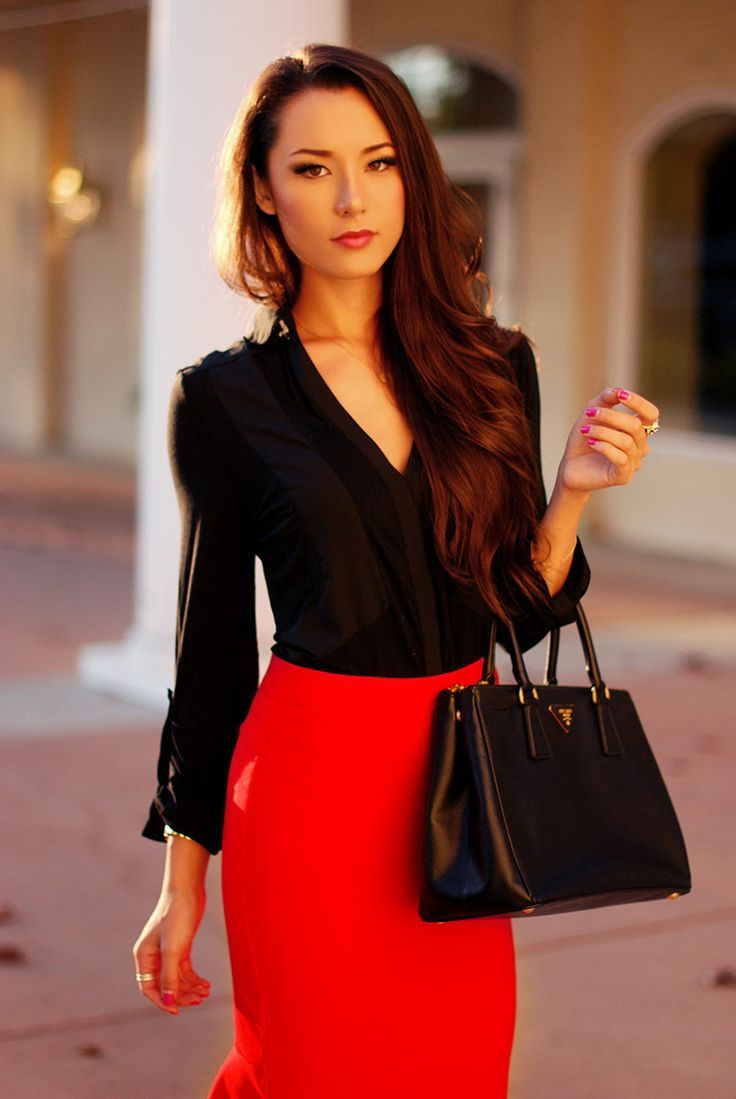 Street Style outfit ideas with red Color //  red pencil skirt and black blouse