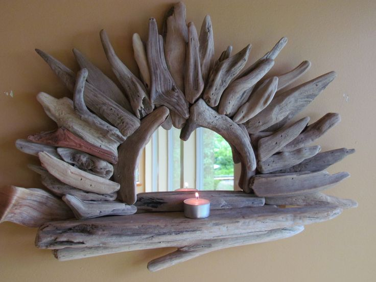 Driftwood shelf with mirror