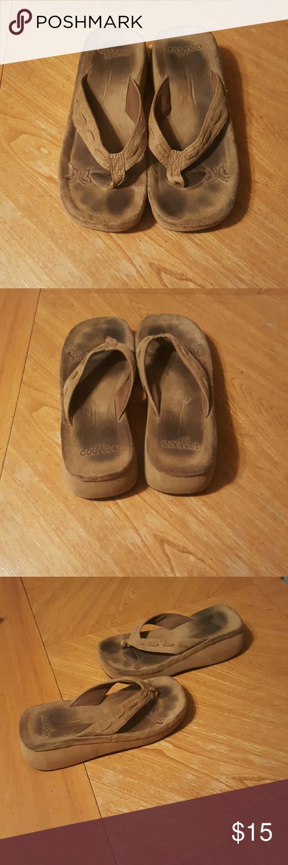 Cobian flip flops Cobian flip flops. In good condition.  Leather upper. Still a lot of wear left in them. Colbian Shoes Sandals