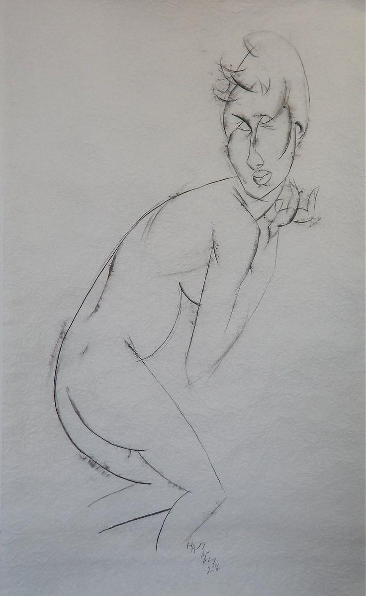 Нальби Бушашев, Model 3. Бумага, уголь. 82 x 137,5. #art #contemporaryart #russianart