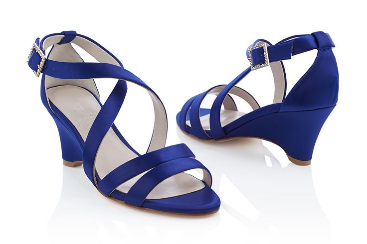 #Jakii Laine [Blue satin strappy wedge sandals]