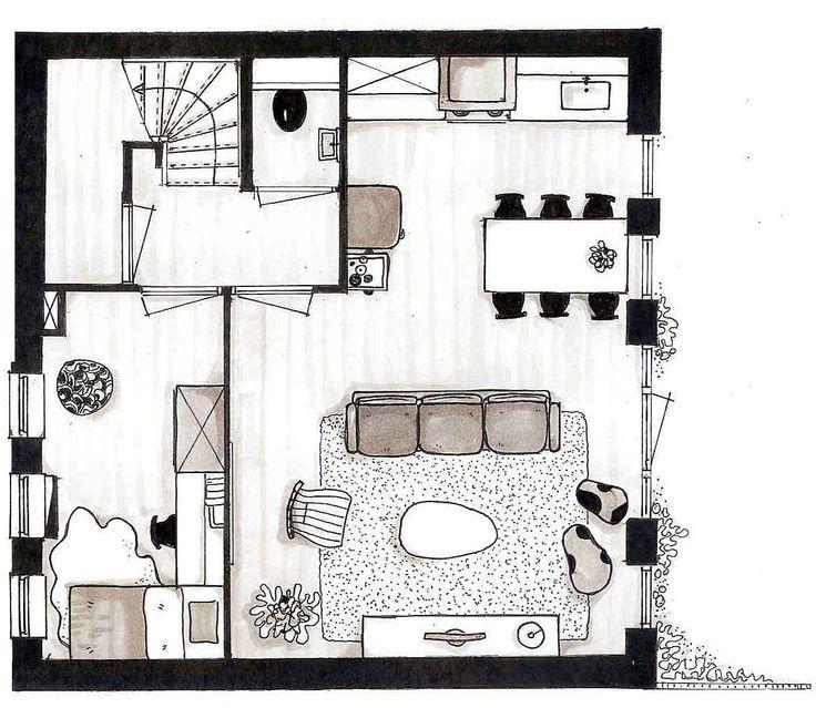 Zwart wit plattegrond project: Kranenburg Groesbeek...voor meer inspiratie www.stylingentrends.nl of www.facebook.com/stylingentrends #interieuradvies #verkoopstyling #woningfotografie
