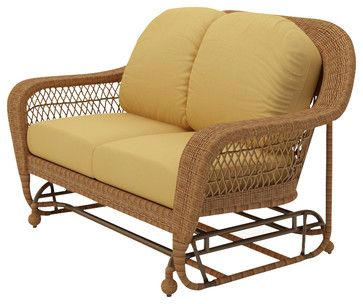 Catalina Wicker Patio Double Glider, Straw Wicker, Wheat Cushions traditional-outdoor-chairs