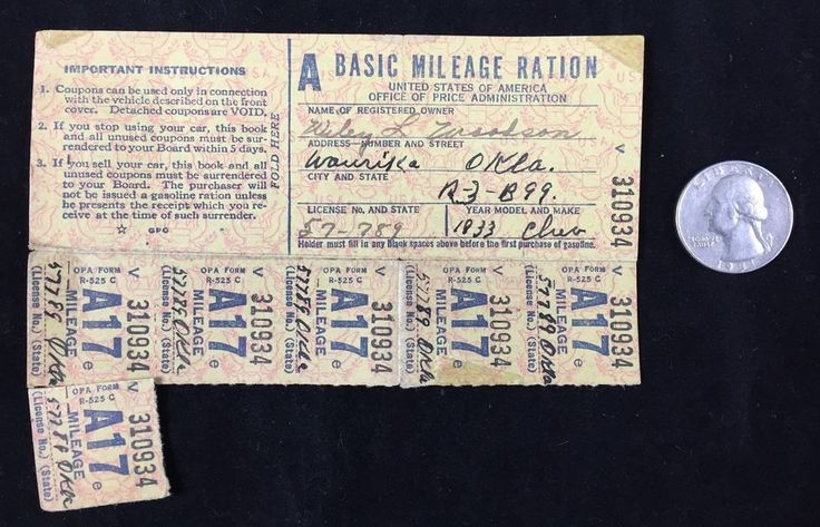Mileage Ration Stamps Basic A 1940s WWII 1933 Chevy Chevrolet Waurika Oklahoma