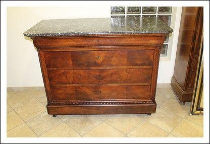 Comò cassettone cassettiera antica Luigi Filippo marmo 1840 circa! Antiquariato credenza antichità