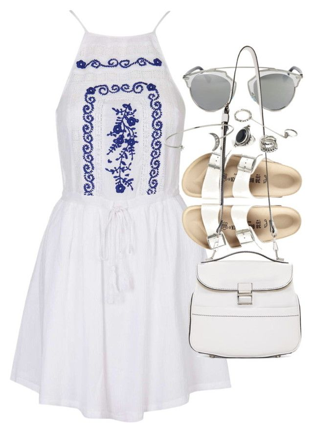 """Outfit with Birkenstocks for summer"" by ferned on Polyvore featuring Topshop, Christian Dior, Birkenstock, Proenza Schouler, Forever 21, women's clothing, women, female, woman and misses"