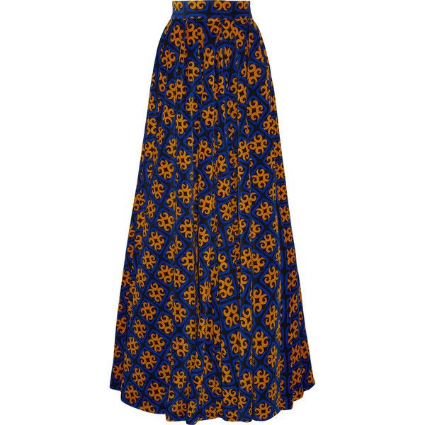 Finds + Talbot Runhof printed stretch-corduroy maxi skirt ($941) ❤ liked on Polyvore featuring skirts, bottoms, blue, blue skirt, long blue skirt, long stretchy skirts, maxi skirt and long corduroy skirt