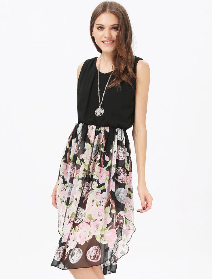 Black Sleeveless Contrast Vintage Floral Chiffon Dress 18.00