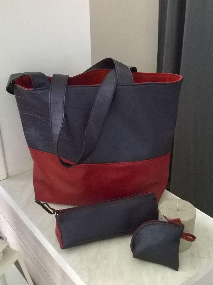 sac de ville, sac de cours, sac de tous les jours cadeau noël femme fille simili cuir rouge bleu doublé lin de la boutique VeronPiotCreation sur Etsy