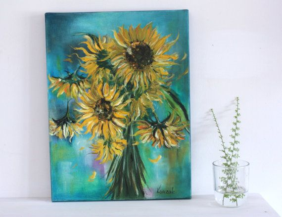 Sunflowers Oil Painting Art Oryginal Idea Home by BarbaraGallery