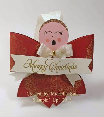 A sweet and easy to create angel made with the Bigz Bow Die from Stampin' Up!.   www.stampinsuitsme.stampinup.net