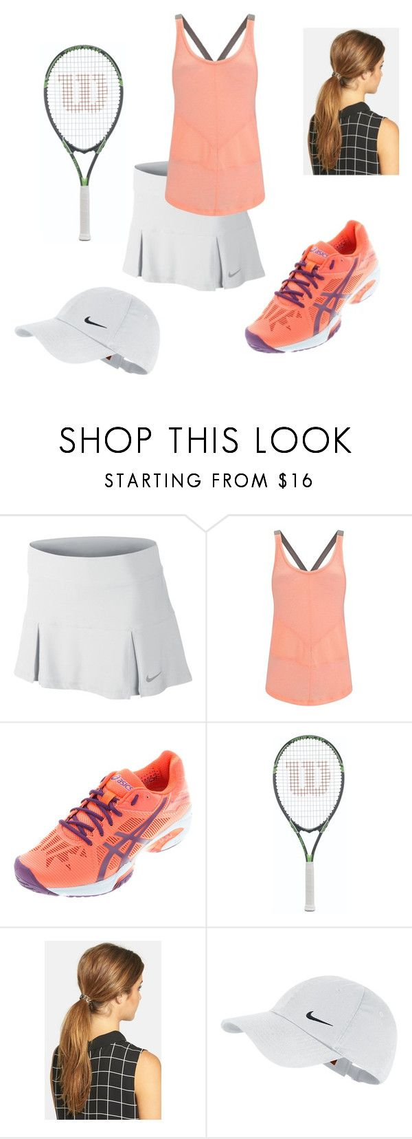 """""""Tennis"""" by maggieglander ❤ liked on Polyvore featuring NIKE, Sweaty Betty, Asics and Ficcare"""