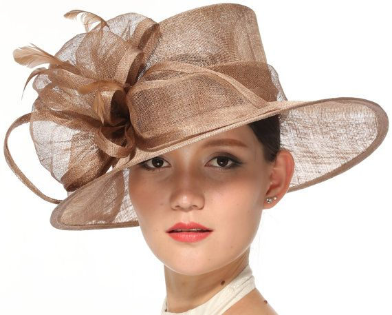 Church Kentucky Derby Carriage Tea Party Wedding Wide Brim Woman's Royal Ascot Hat in Solid Sinamay Hat Taupe