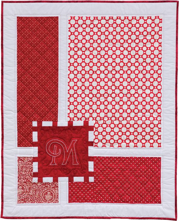Gift-Wrapped baby quilt pattern, from: Nap and Nod by Myra Harder. Christmas baby quilt with a design reminiscent of a ribbon-wrapped Christmas present. It's easy to personalize with any initial.