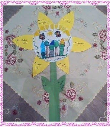 Χαρούμενες φατσούλες στο νηπιαγωγείο: ΕΝΑ ΛΟΥΛΟΥΔΙ ......ΑΝΑΜΝΗΣΤΙΚΟ !!!- Στα πέταλα οι γονείς θα γράψουν, τις σκέψεις τους, τις ευχές τους, τα συναισθήματά τους ενώ στο άσπρο χαρτί τα παιδιά θα ζωγραφίσουν τη πρώτη τους ζωγραφιά .