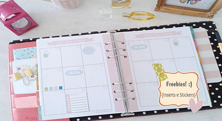 Baixe grátis e imprima os inserts do planner rotina de beleza, nos tamanhos A5 e Personal. Também tem cartela de stickers para imprimir.