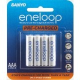 Sanyo Eneloop AAA NiMH Pre-Charged Rechargeable Batteries 4 Pack (Electronics)By Sanyo