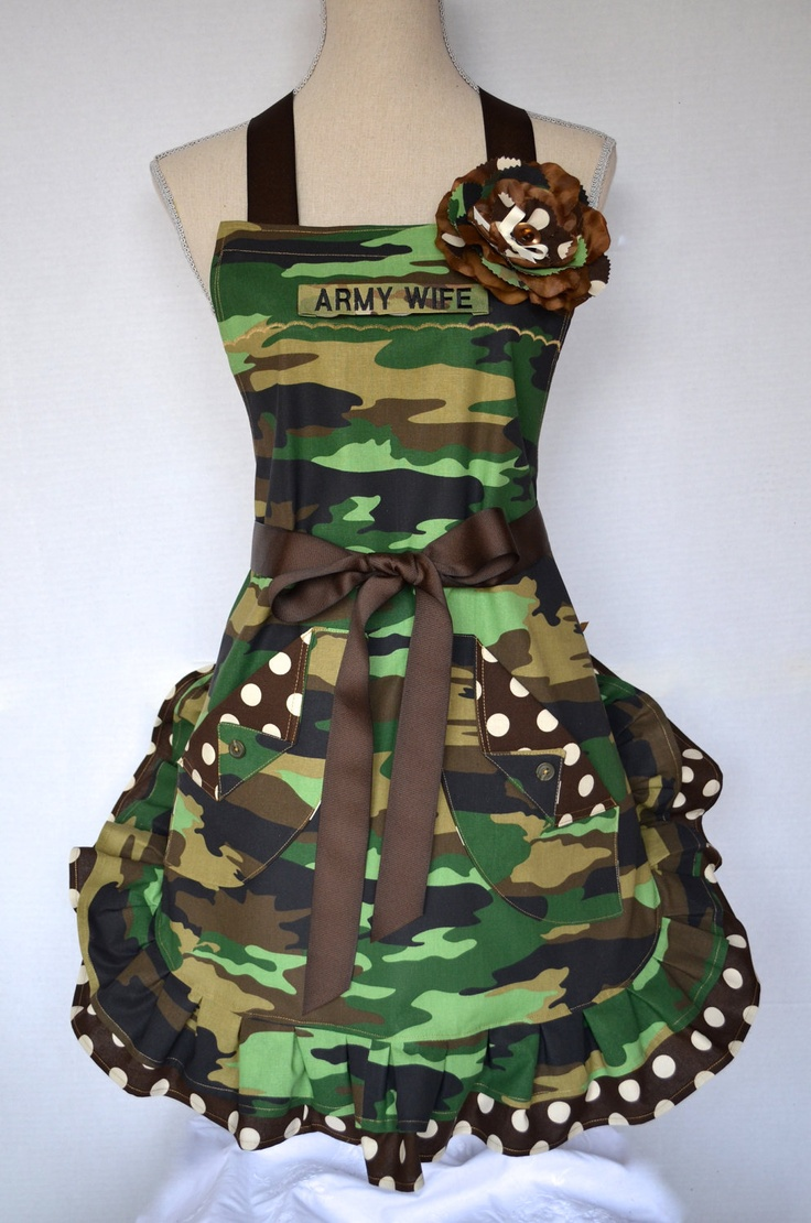 Your Choice of Name Tape - US Army - US Marines - Army Wife .. Womens Full Apron Military Camouflage Print With Shabby Chic Pin. $34.95, via Etsy.