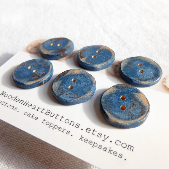 Small Blue Buttons Blue Wood Buttons Distressed Blue Wooden