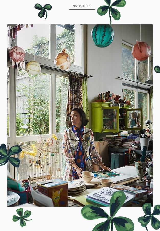 """Nathalie Lete in studio~""""Cat's and dog's friends""""collection for Blue Illusion, Australia 2015."""