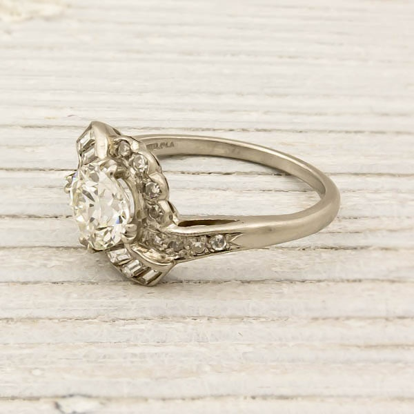 Vintage 1.17 Carat Old European Cut Diamond Engagement Ring. $9,600.00, via Etsy.