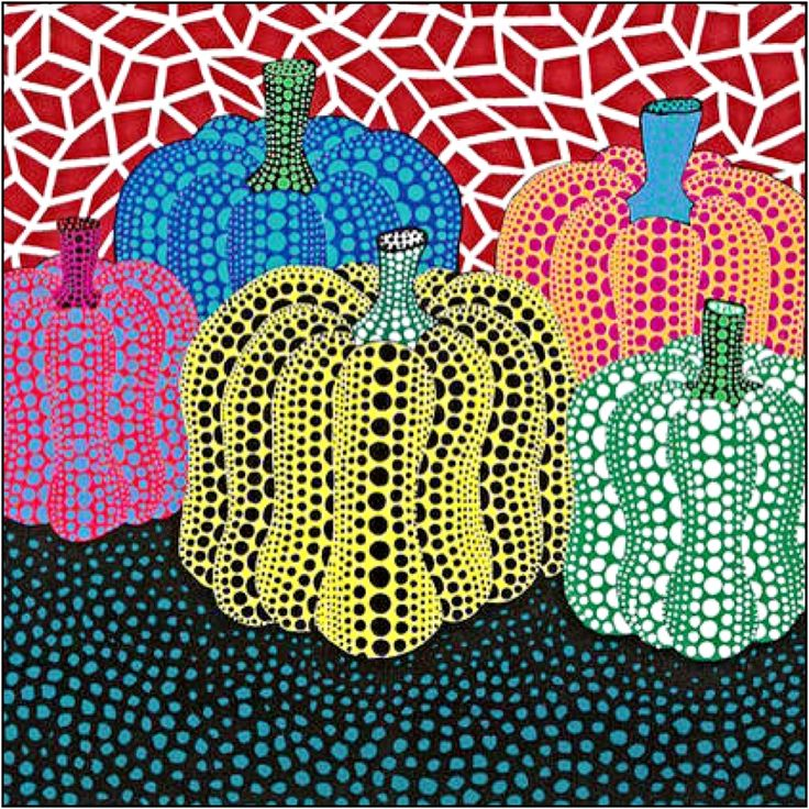"Used as example/basis for 2/3 grade still life works // ""Pumpkin"" Yayoi Kusama"