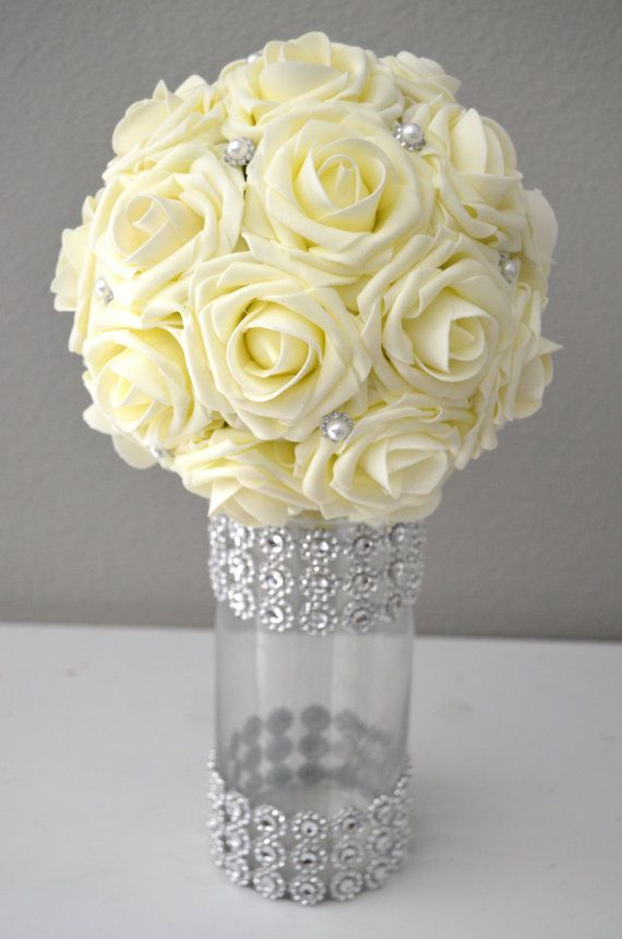 IVORY Real Touch Roses Flower Ball with Bling by KimeeKouture