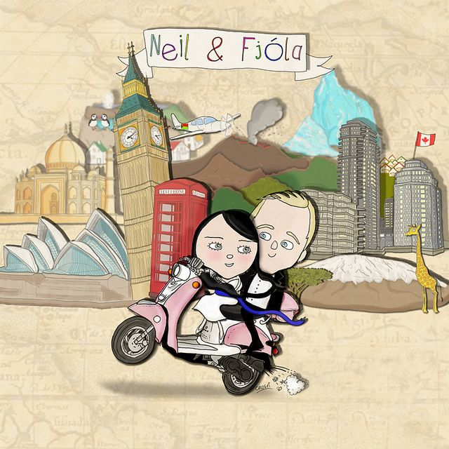 OBSESSED. works perfectly with our theme. custom wedding invitation for a cool couple that travels a lot