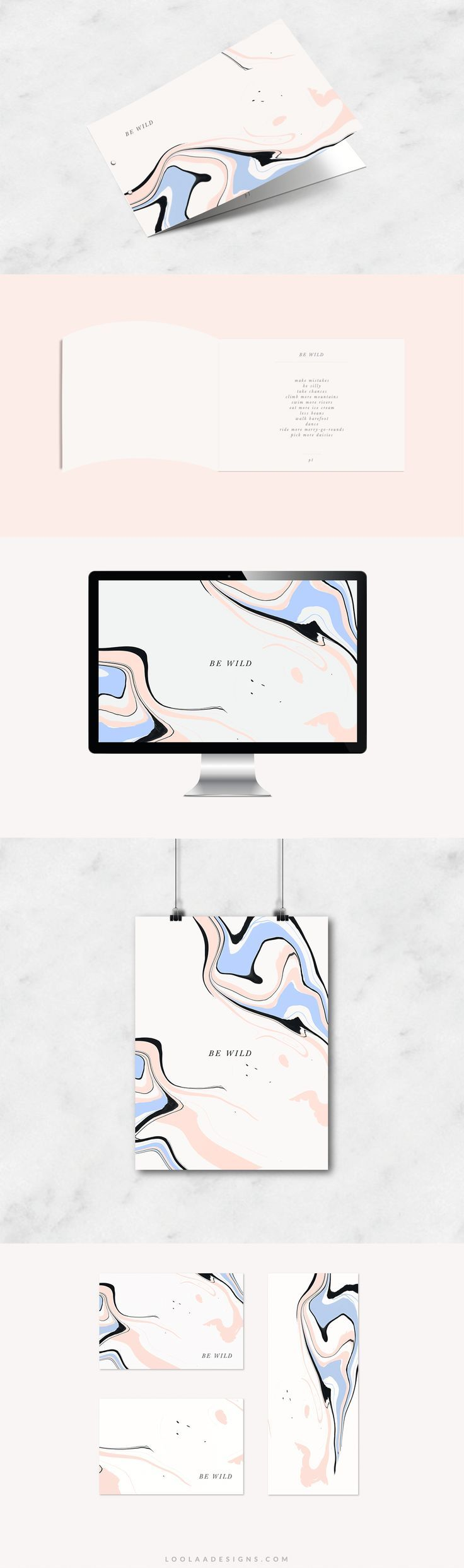 Stationary liquid effect branding baby pink + baby blue + grey + marble graphics-loolaadesigns.com. If you like UX, design, or design thinking, check out theuxblog.com