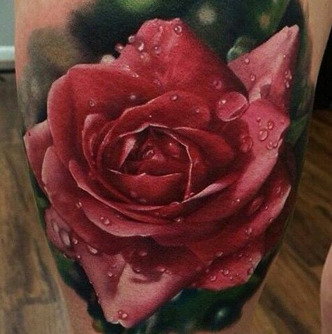 red rose tattoo by Kyle Cotterman