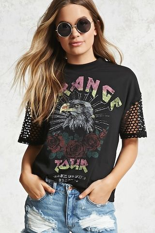 """A knit graphic tee featuring a front """"Strange Tour Back to The Classic"""" graphic, an eagle, roses, open-mesh short sleeves, and a crew neck."""